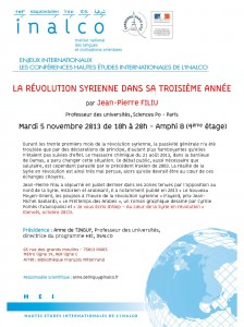 CONFERENCE_HEI-INALCO_-_LA_REVOLUTION_SYRIENNE_DANS_SA_TROISIEME_ANNEE_-_J.P._FILIU_5.11.2013