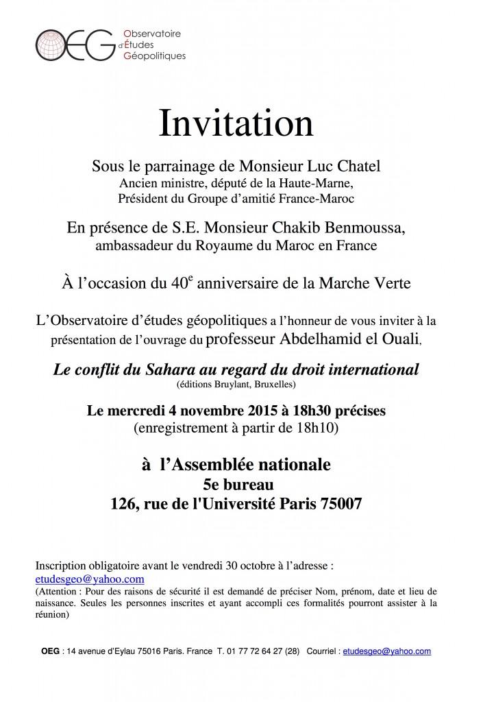 invitation Assemblée 4 novembre.Sahara marocain